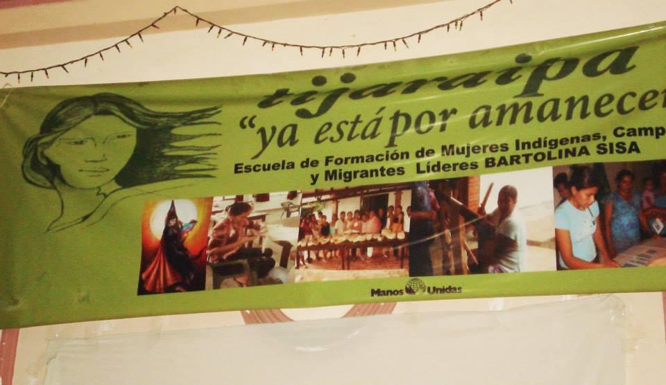 Cartel de Tijaraipa y de la 'Escuela de Líderes Indígenas Nicolasa Noza de Cuvene'de Beni. Foto Manos Unidas
