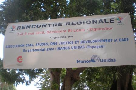 Banderola Encuentro Regional Convenio Senegal foto Manos Unidas/Alejandra Escaladato