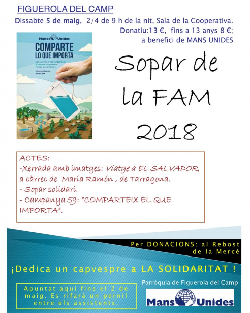 Próxima Cena Solidaria en Figeurola del Camp