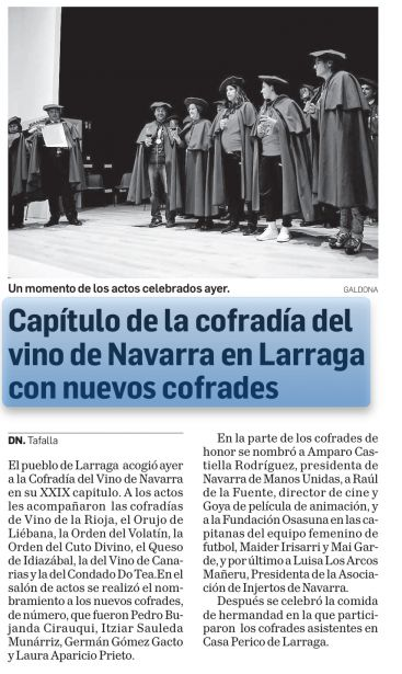 Manos Unidas nuevo Cofrade de Honor en Larraga