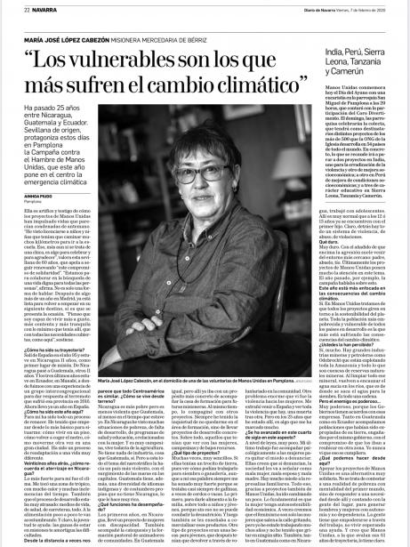 María José López Cabezón misionera mercedaria de Bérriz en Diario de Navarra