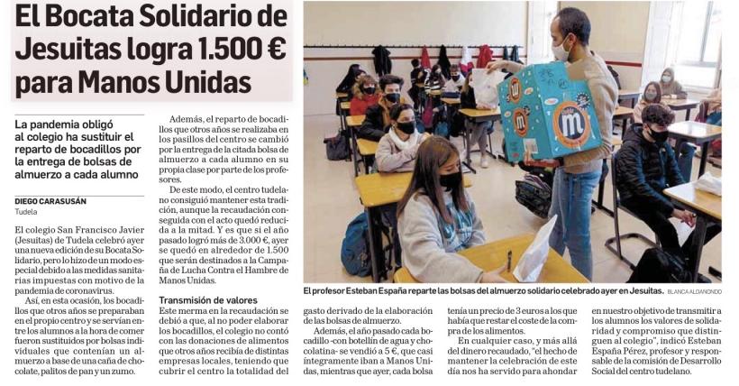 Diario de Navarra publica la recaudación del bocata solidario del colegio Jesuitas de Tudela para Manos Unidas