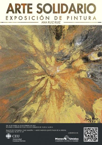 Cartel de la exposición Arte Solidario a beneficio de los proyectos de Manos Unidas Valencia.
