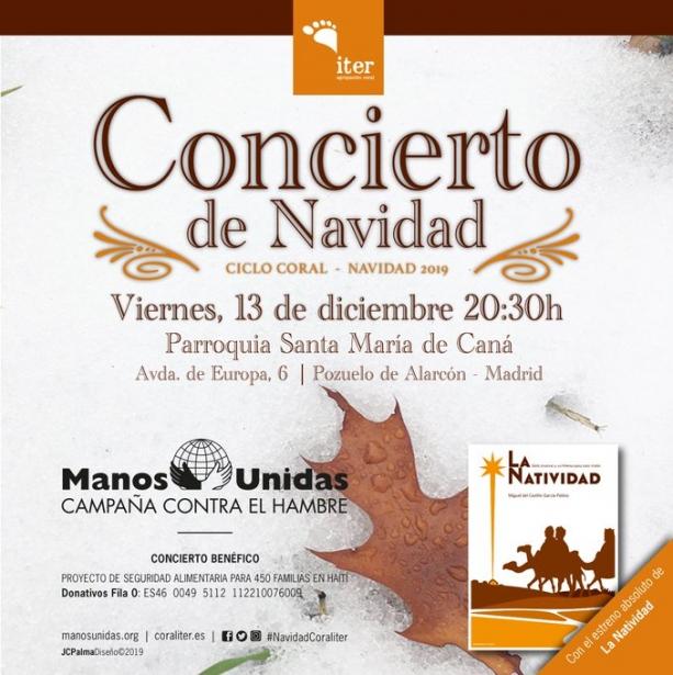 Cartel del Concierto de Navidad 2019 de Manos Unidas Madrid