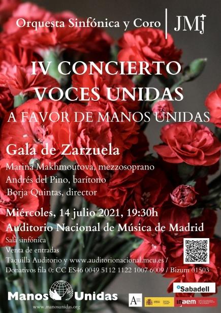 Cartel IV Concierto Voces Unidas de la orquesta sinfónica de la JMJ