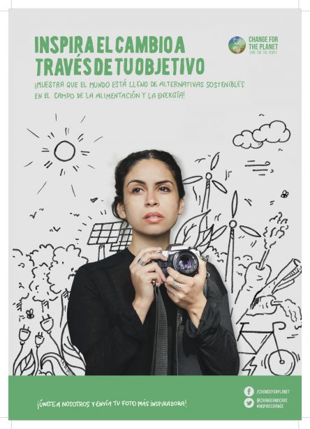"""Cartel del concurso """"Inspira el cambio a través de tu objetivo #INspireChange"""""""