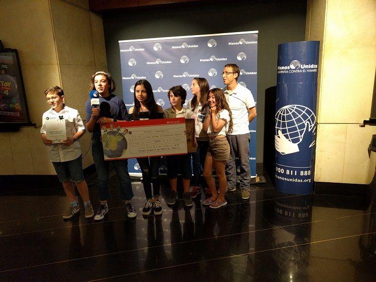 Entrega del premio Clipmetrajes Manos Unidas 2019 al CEIP Parque Eugenia de Montijo de Madrid