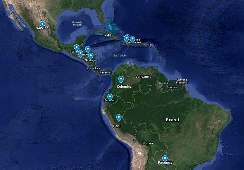 Mapa de los proyectos de emergencia contra el coronavirus en América Latina