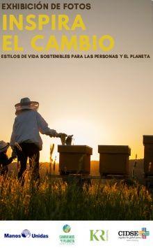 """Cartel de la exposición itinerante """"Inspira el Cambio"""" #inspierchange que Manos Unidas está realizando en 5 ciudades españolas"""