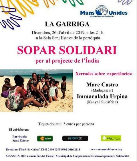 Cena solidaria en La Garriga