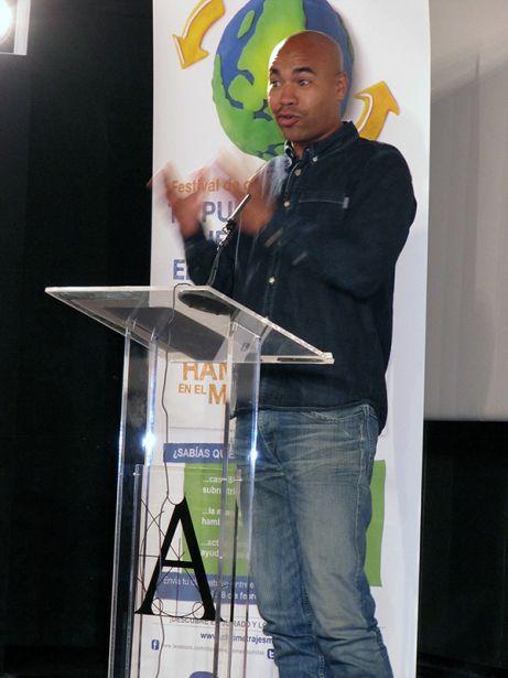 Santiago Zannou en la presentación de esta V Edición del Festival de Clipmetrajes Manos Unidas. Foto: Irene H-Sanjuán/Manos Unidas