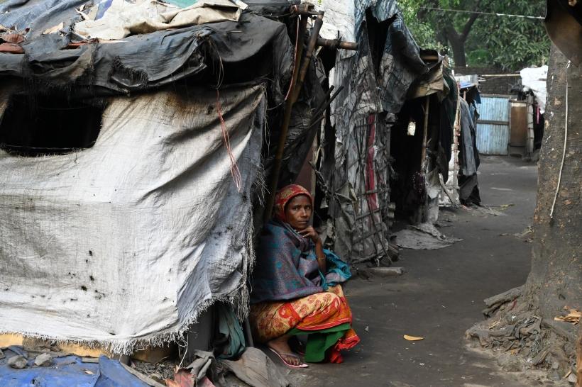 Mujer en un slum