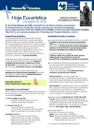 Hoja Eucarística Jornada Nacional de 2019