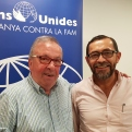 El presidente de Manos Unidas Barcelona, Joan Martí, junto a Sergio Godoy