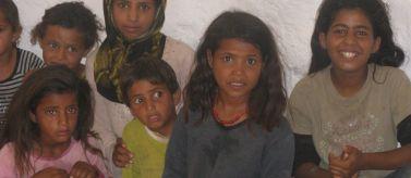 Niños palestinos beduinos