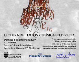 Cartel  espectáculo literario en Alcobendas a beneficio de Manos Unidas