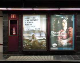 Publicidad de la nueva campaña de Manos Unidas en el metro