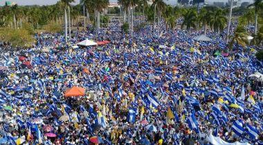 Imagen de una de las marchas vividas en Managua el pasado mes de abril, convocada por la Iglesia para orar por los fallecidos y pedir justicia. Foto Qhubo.com.ni