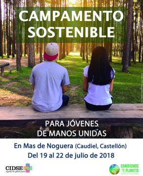 Campamento sostenible para jóvenes de Manos Unidas. Del 19 al 22 de julio de 2018